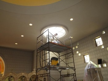 Painting the skylight at the St George Greek Orthodox Church in Saint Paul MN